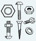 Set of screws Stock Image