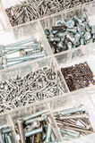 Set of Screws and Nails on white Royalty Free Stock Photos