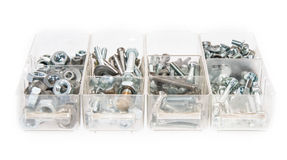 Set of Screws and Nails on white Royalty Free Stock Image
