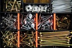 Set screws in plastic case Stock Images