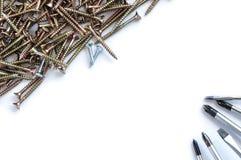 Set of screws and screwdrivers Stock Image