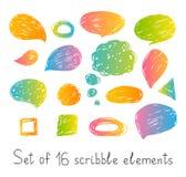 Set of 16 scribble elements. On white stock illustration