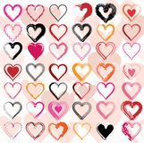 Set of scribble hearts with grungy texture. Vector Stock Image