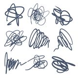 Set of Scribble Stains Hand drawn in Pen, logo design royalty free illustration