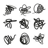 Set of Scribble Stains Hand drawn in Pen, vector logo design elements stock illustration