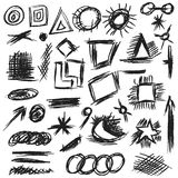Set scribbles shapes, lines and curves Royalty Free Stock Photography