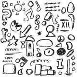 Set scribbles shapes, lines and curves Stock Image