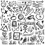 Set scribbles symbols, shapes, lines and curves Royalty Free Stock Photography