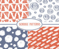 Set of scrible seamless patterns. Stock Images