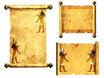 Set of scrolls with Egyptian gods images - Anubis and Horus Royalty Free Stock Images