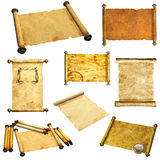 Set of scrolls of old parchment Stock Photography