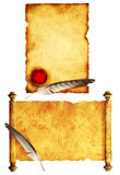 Set of scrolls of parchments and feathers Stock Image