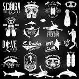 Set of Scuba diving club and diving school design. Royalty Free Stock Image