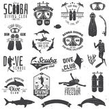 Set of Scuba diving club and diving school design. Stock Photography
