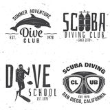 Set of Scuba diving club and diving school design. royalty free illustration