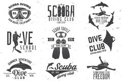 Set of Scuba diving club and diving school design. Stock Images