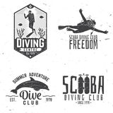Set of Scuba diving club and diving school design. Royalty Free Stock Photo