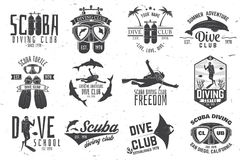 Set of Scuba diving club and diving school design. Royalty Free Stock Photography