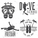 Set of Scuba diving club and diving school design. Royalty Free Stock Photos