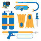 Set of scuba diving Royalty Free Stock Images