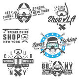 Set of scuba diving elements for emblems,logo ,prints,tattoo,label and design. Royalty Free Stock Images