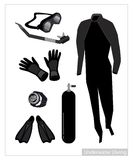 Set of Scuba Diving Equipment on White Background Stock Photo