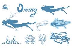 Set of Scuba-diving. Vector Diver logo Stock Images