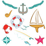 Set of sea. Set of travel by sea vector illustration