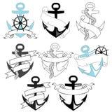 Set of sea anchors Royalty Free Stock Photos