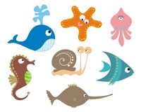 Set of sea animals. Set of 7 sea animals Stock Photography