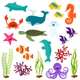 Set of sea animals. Set of funny sea animals Royalty Free Stock Images