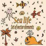 Set of sea animals and elements. Cute aquatic creatures. Hand drawn illustration with shells, whale, palm tree, fishes, octopus and coral. Vector cartoon icons Royalty Free Stock Photo