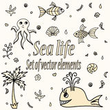 Set of sea animals and elements. Cute aquatic creatures. Stock Photography