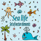 Set of sea animals and elements. Cute aquatic creatures. Hand drawn illustration with shells, whale, palm tree, fishes, octopus and coral. Vector cartoon icons Stock Image
