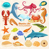 Set of sea animals Stock Images