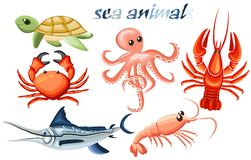A set of sea animals - octopus, crab, cancer, fish-needle, tortoise and shrimp vector illustration