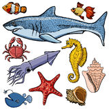 Set of sea animals Stock Photography