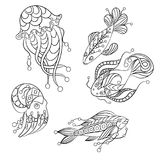 Set of sea animals in vector graphic illustration  in coloring p. Ages for children and adults with fish, octopus and jellyfish Stock Image