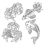 Set of sea animals in vector graphic illustration in coloring p stock illustration