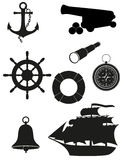 Set of sea antique icons vector illustration Royalty Free Stock Image