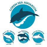 Sea aquarium emblem set Royalty Free Stock Photos