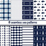 Set of sea backgrounds in dark blue and white colors. Seamless patterns. Vector illustration Royalty Free Illustration