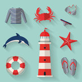 Set of sea and beach flat icons. Vector illustrati Stock Photo