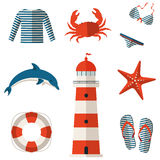 Set of sea and beach flat icons. Vector illustration. Royalty Free Stock Photo
