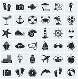 Set of sea and beach icons. Vector illustration. Royalty Free Stock Image