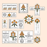 Set of the sea buckthorn labels, logos, banners, emblems for natural cosmetic products Royalty Free Stock Images
