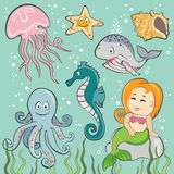 Set of  Sea Creatures. Set of  cartoon Sea Creatures Stock Image