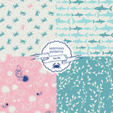 Set of sea creatures seamless pattern Royalty Free Stock Photo