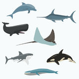 Set of sea creatures. Vector illustration Stock Photography
