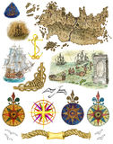 Set with sea elements and pirate map isolated Stock Photos